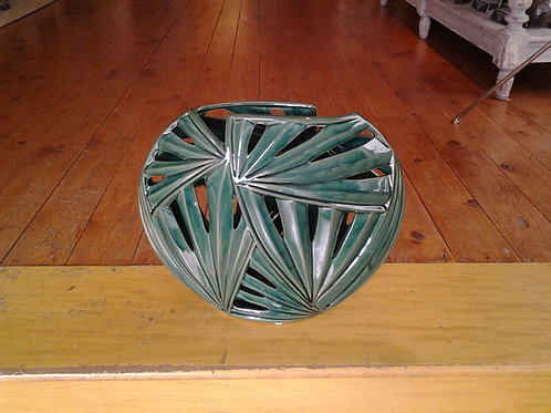 Crackled Ceramic Green Vase
