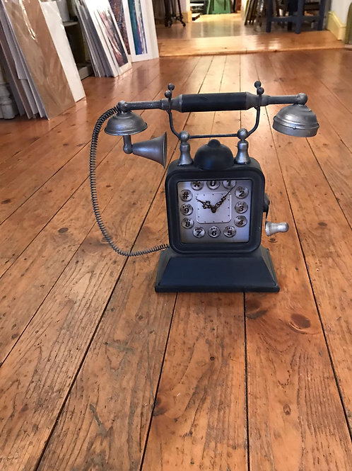 Telephone Table Clock - Silver