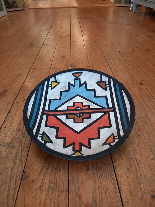 Large Round Platter - Aztech Print