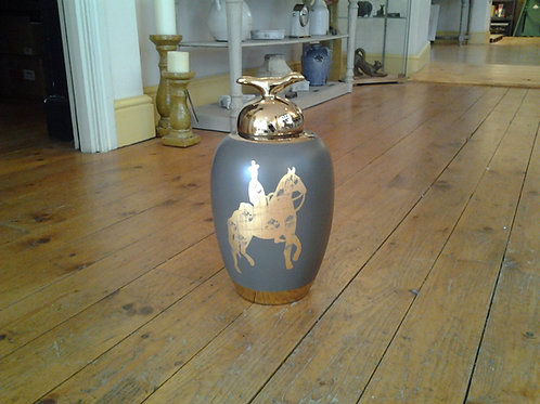 Grey Vase With Gold Horse