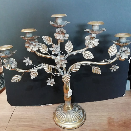 Antique Gold Tree With Leaves And Flowers Candelbra