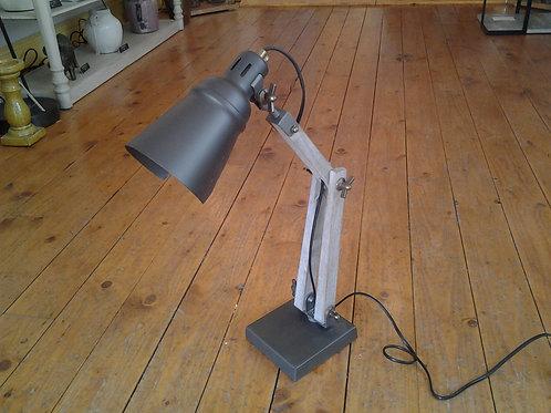 Wood And Grey Metal Desk Lamp