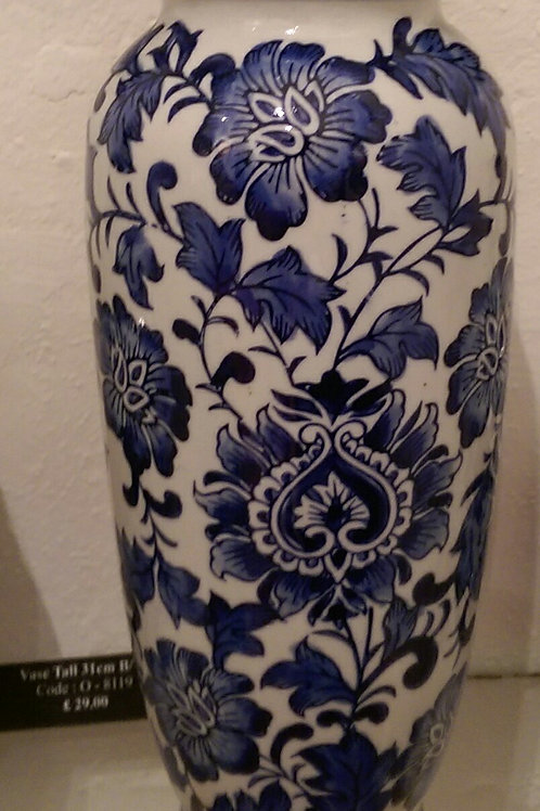 Tall Vase-Blue And White