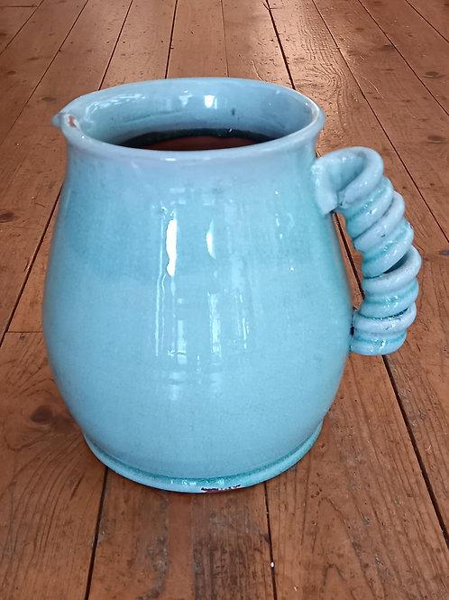 Pale Blue/Green Curl Handled Vase