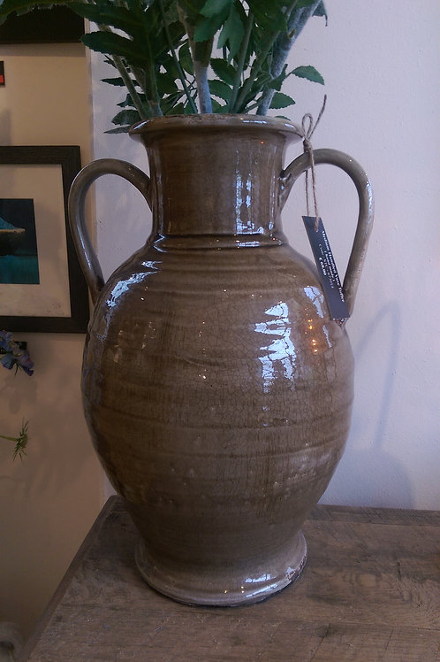 Hand Made Handled Vase-Toffee