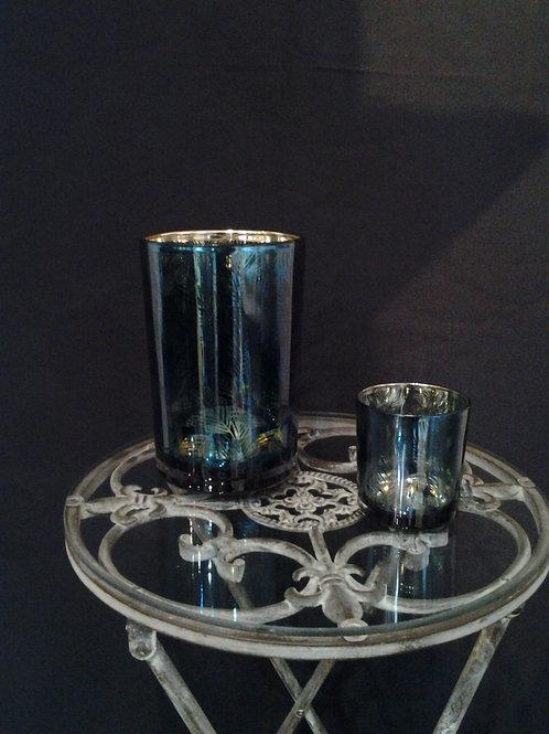 Blue Glass Leaf Pattern Tealight Holder