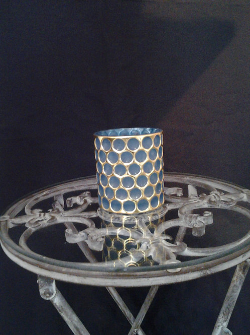 Frosted Glass And Gold Tealight Holder