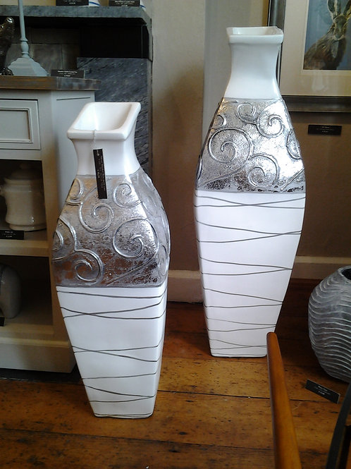 Silver Shaded Flute Neck Vase