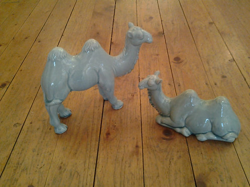 Desert Green Ceramic Camels Set Of 2