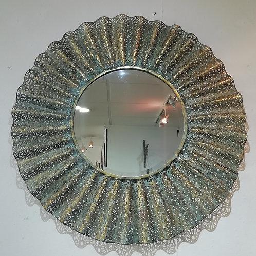 Rustic Gold/Green Fretwork Mirror