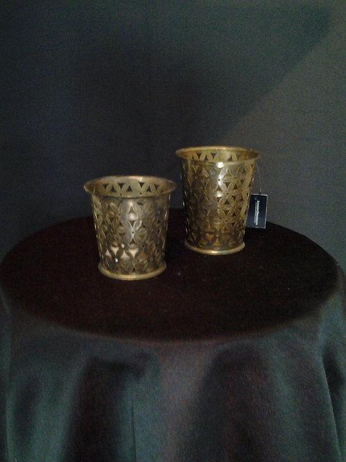 Antique Brass Flower Design Tealight Holder