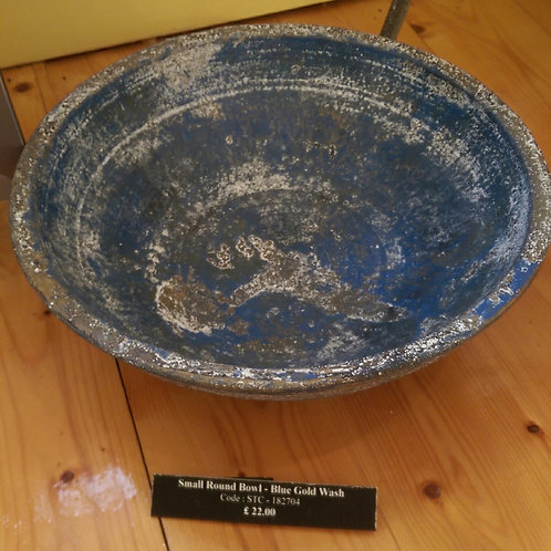 Small Bowl-Blue And Gold Wash