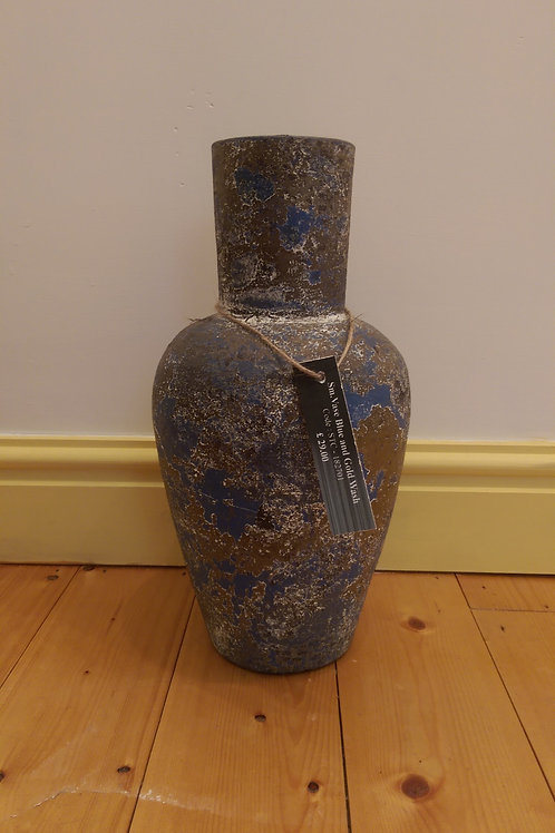 Vase-Blue And Gold Wash