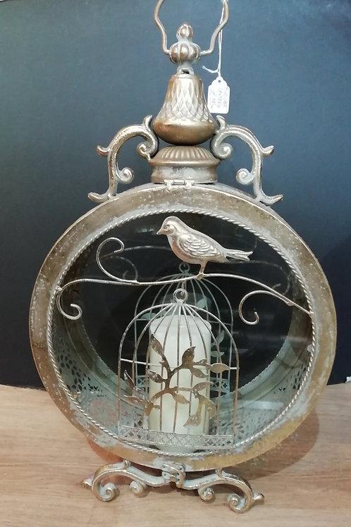 Antique Gold Round Birdcage Detail Lantern