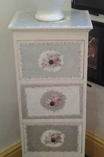 Slim Vintage Floral Side Table