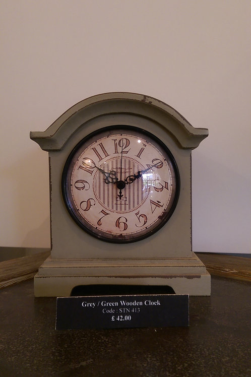 Grey/Green Wooden Clock