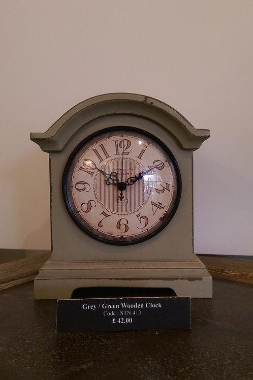 Grey/Green Wooden Clock