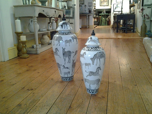 Lidded Zebra Print Jar
