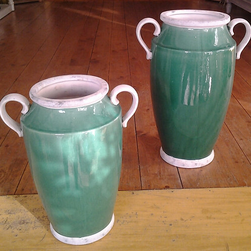 Handled Vase-Emerald