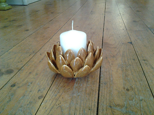 Yellow/Tan Leaf Candle Holder