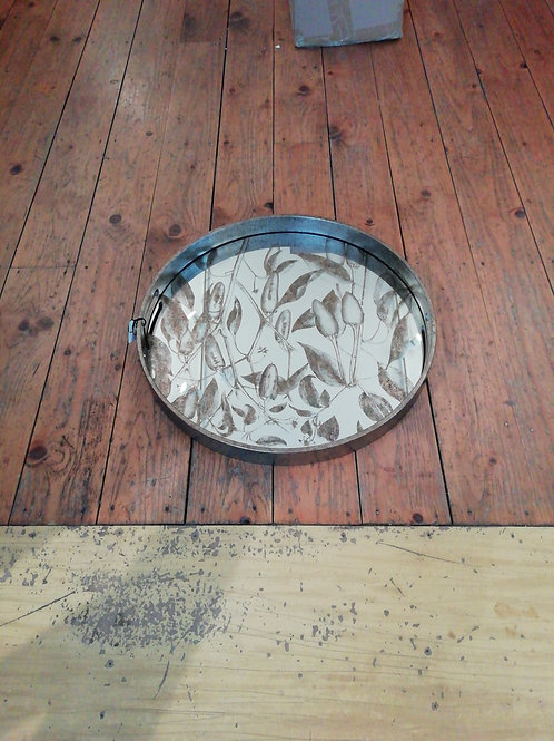 Waltham Round Tray Mirror And Foilage Pattern