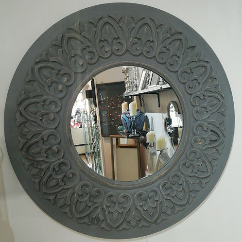 Grey Wood Round Mirror