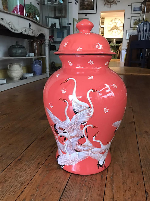 Coral Ginger Jar With Birds