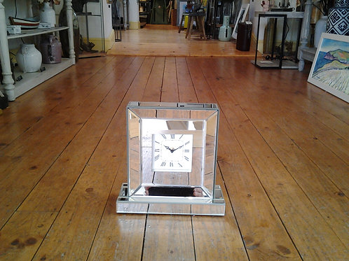Silver Mirrored Glass Table Clock