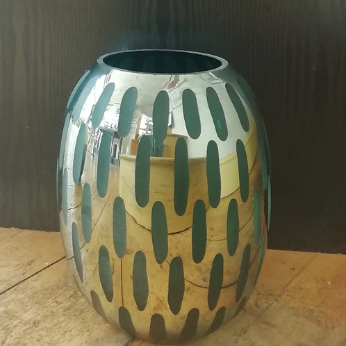 Green/Gold Hurricane Candle Holder