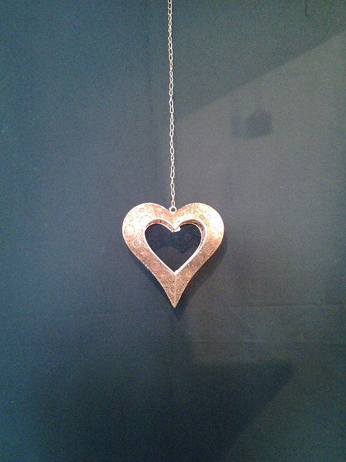 Rose Gold Metal Hanging Heart Tealight Holder