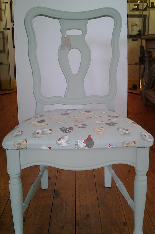 Hand Made Chair With Chicken Upholstery
