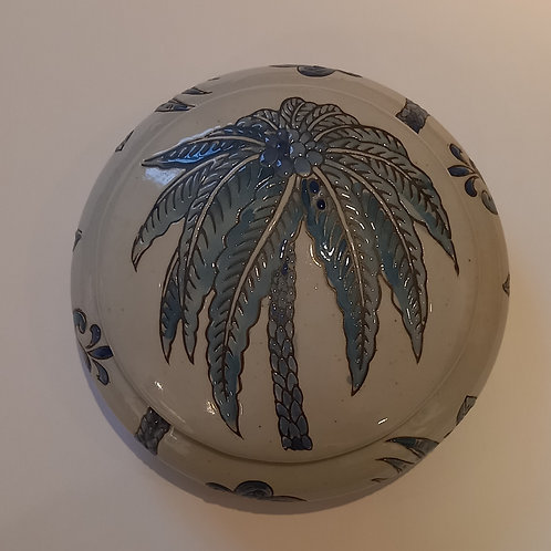 Blue Palm Tree Lidded Bowl