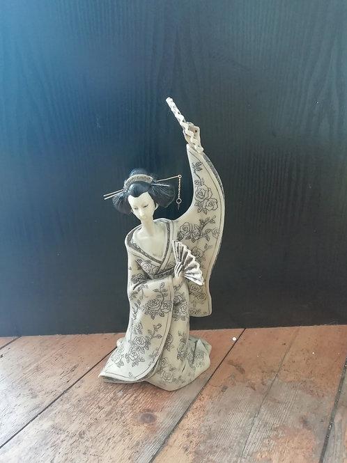 Ivory Effect Geisha With Fan