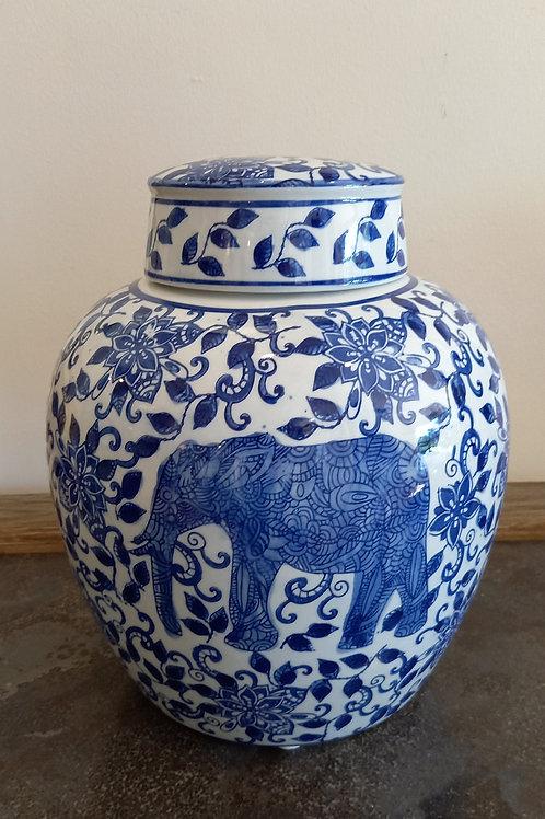 Blue And White Ceramic Elephant Jar