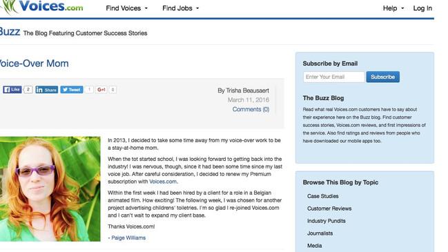 Voices.com Buzz Feature