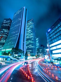 An intersection near Shinagawa Station, Tokyo. 25 second exposure.
