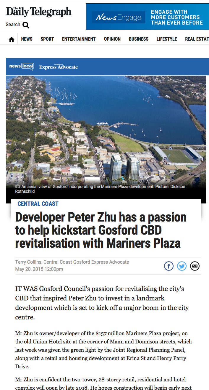 Hemphillproperty.com Mariners Plaza Gosford NSW Daily Telegraph article