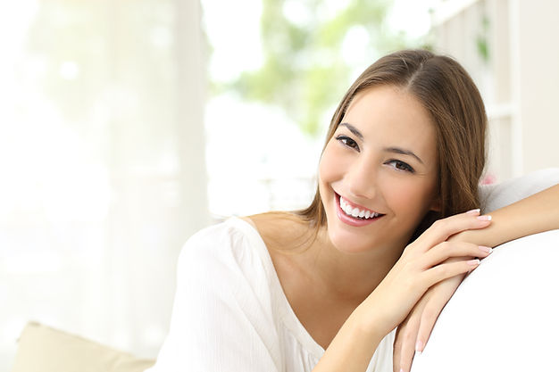 Beauty woman with white perfect smile lo