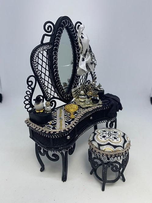 Black Wire Dressing Table & Stool - Black