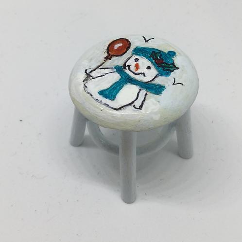 Blue Snowman Stool