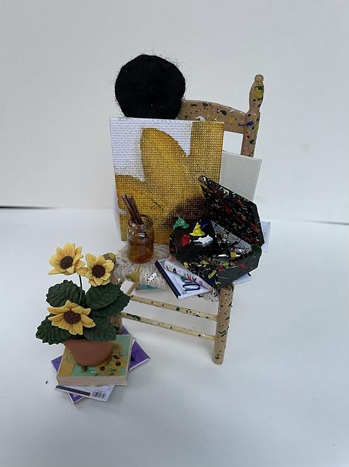 Artist chair - sunflowers