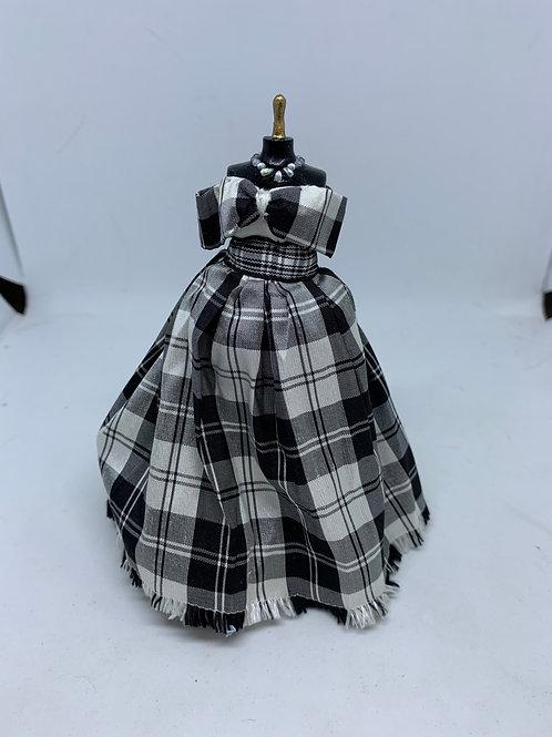 Black and White Tartan Dress on Mannequin