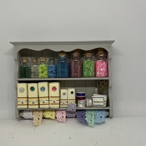 1/12th Grey Haberdashery Sewing Wall Shelf
