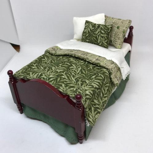 1/12th Mahogany Single Bed - Olive
