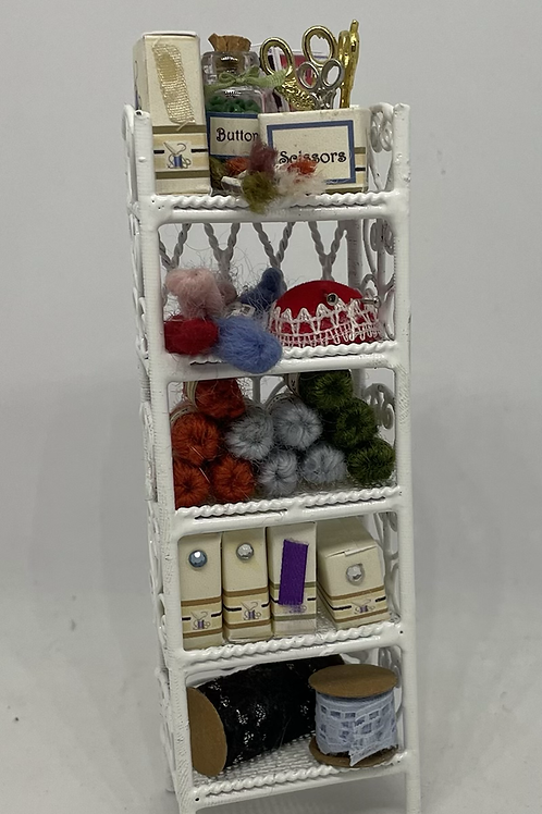 1/12th White Wire Sewing Shelf