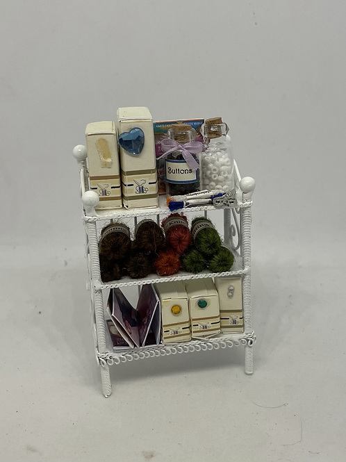 1/12th White Wire Haberdashery Sewing Shelf