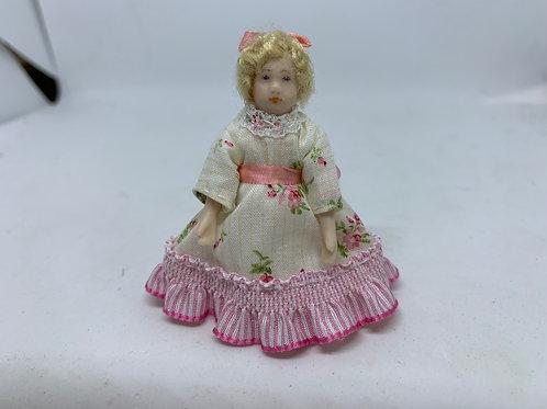 Girl in Pink Rose Dress Doll