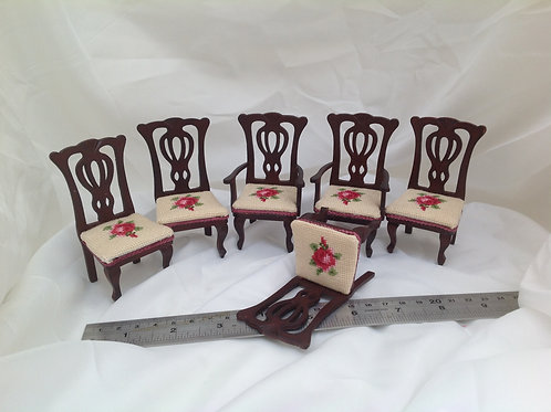 set of 6 Hand Stitched Chairs