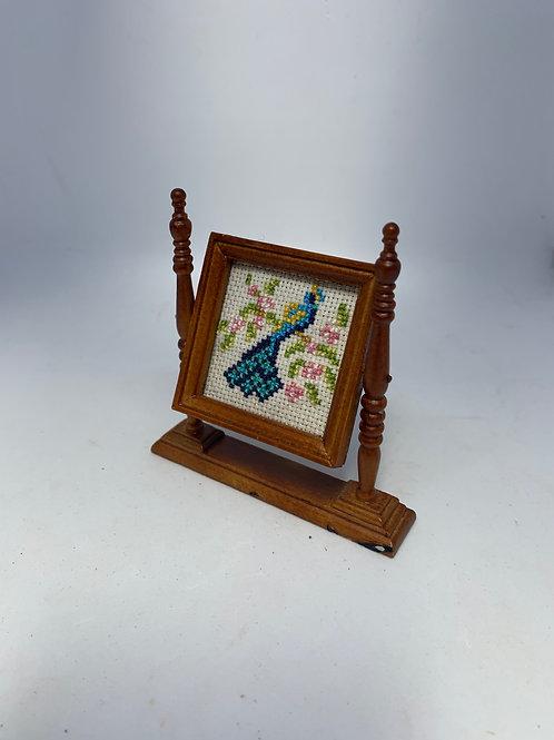 Hand sewn Fire-screen - Peacock