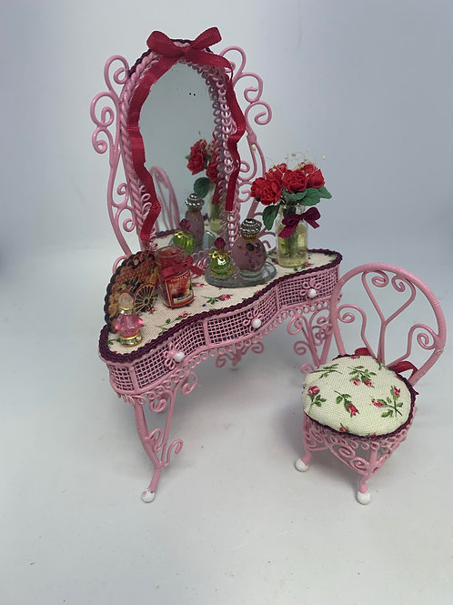 Pink Wire Dressing Table & Chair